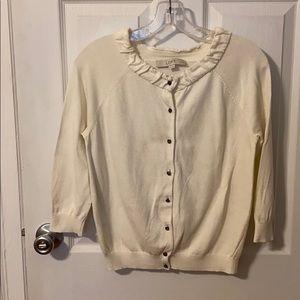 Loft cream button down dressy 3/4 Sleeve sweater
